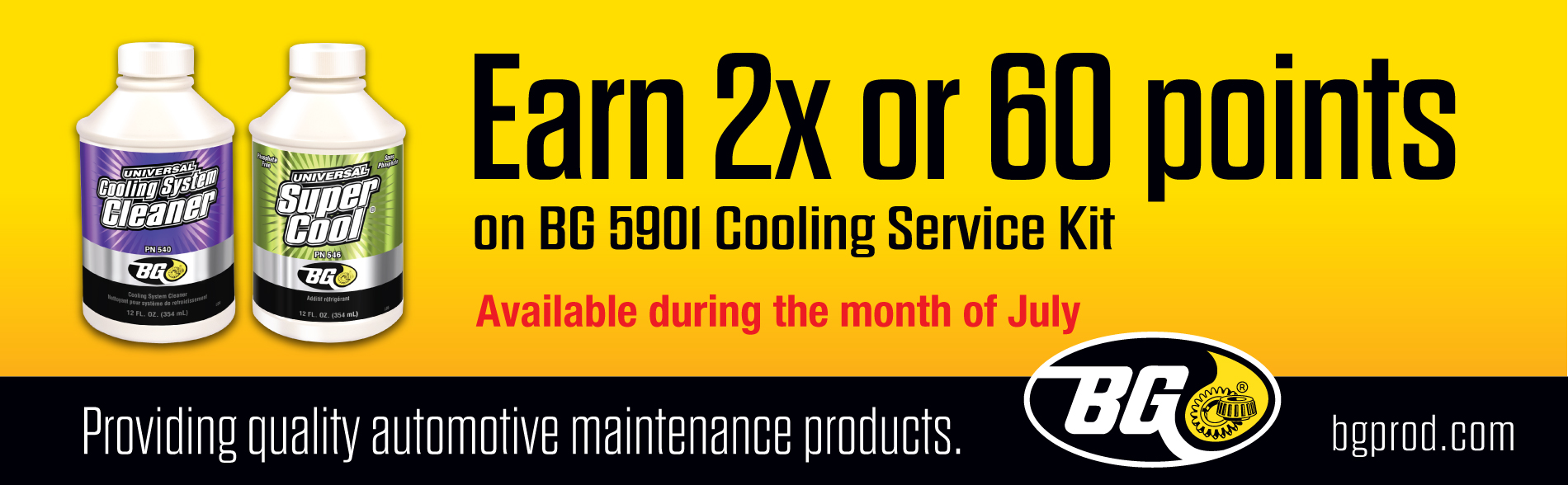Earn 2X or 60 Points on BG 5901 Cooling Service Kit